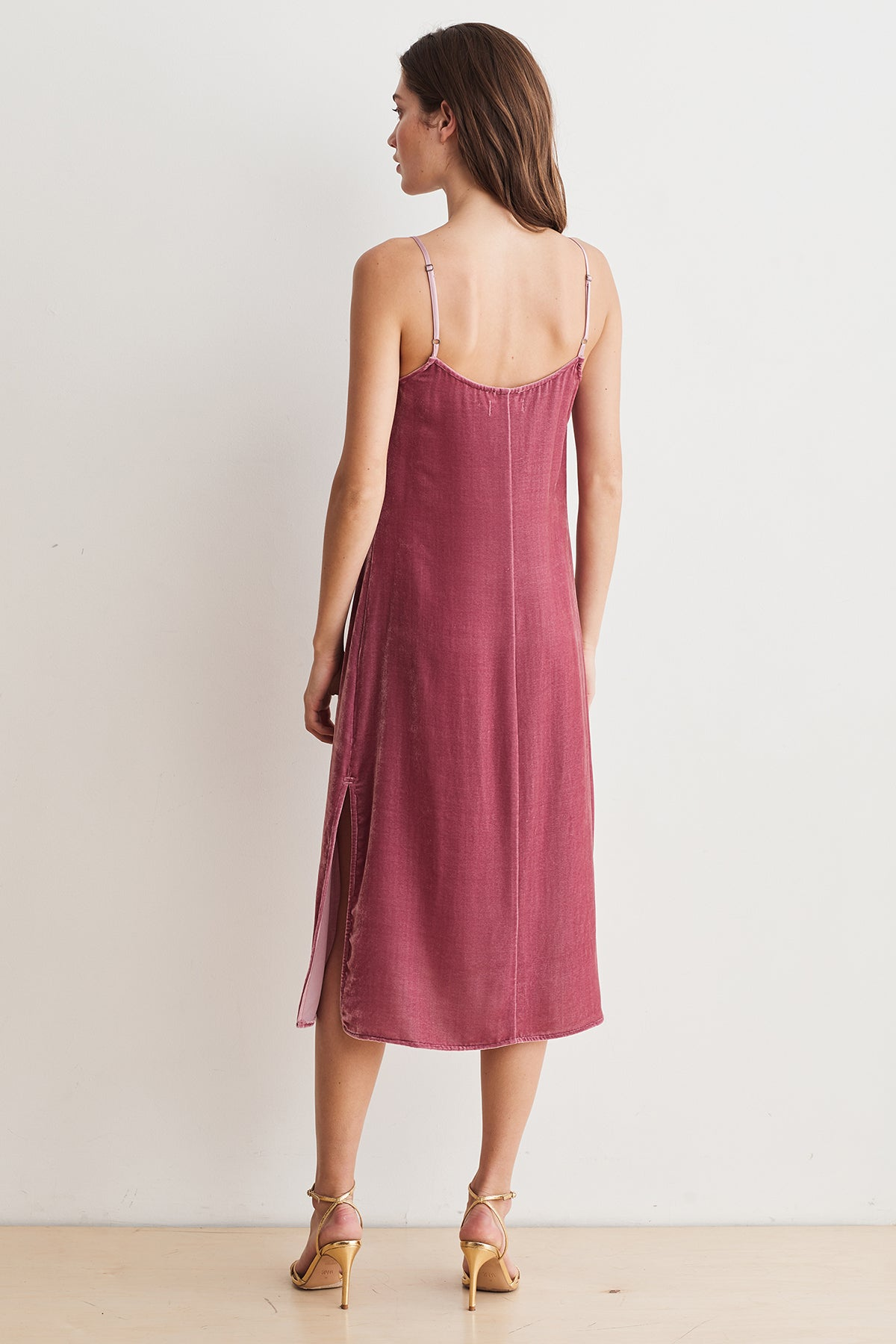 CALANTHA SILK VELVET CAMI DRESS