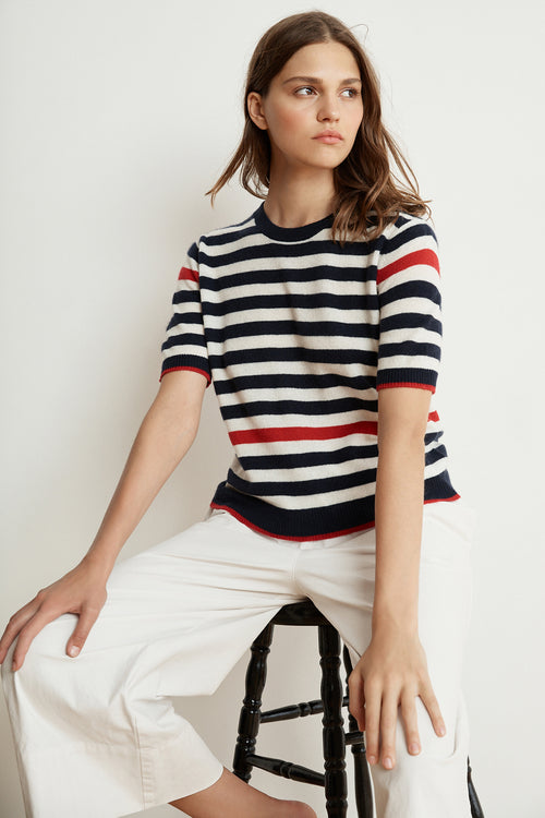 BRENNA STRIPE CASHMERE BLEND SHORT SLEEVE SWEATER