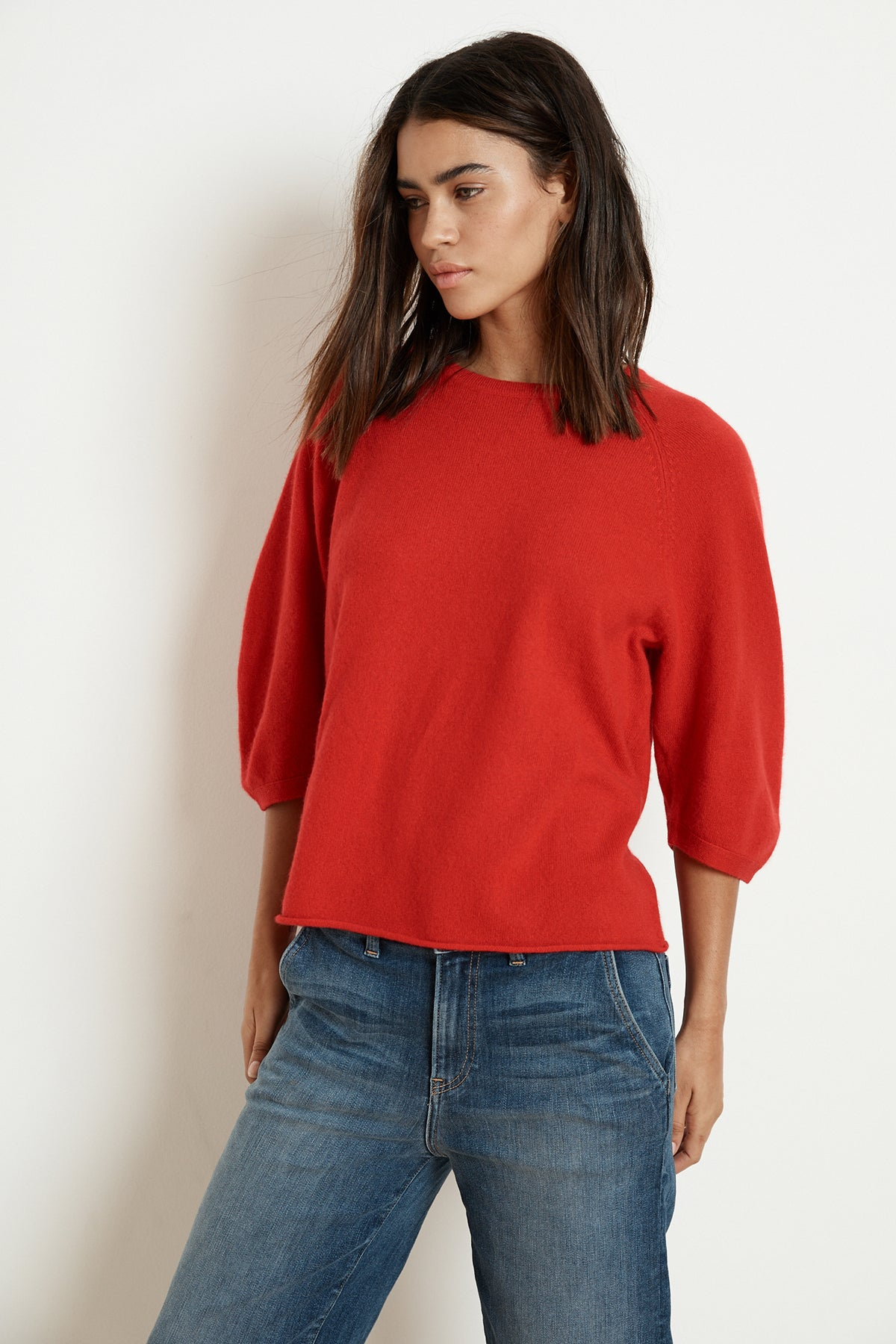 TARA 3/4 SLEEVE CASHMERE BLEND SWEATER