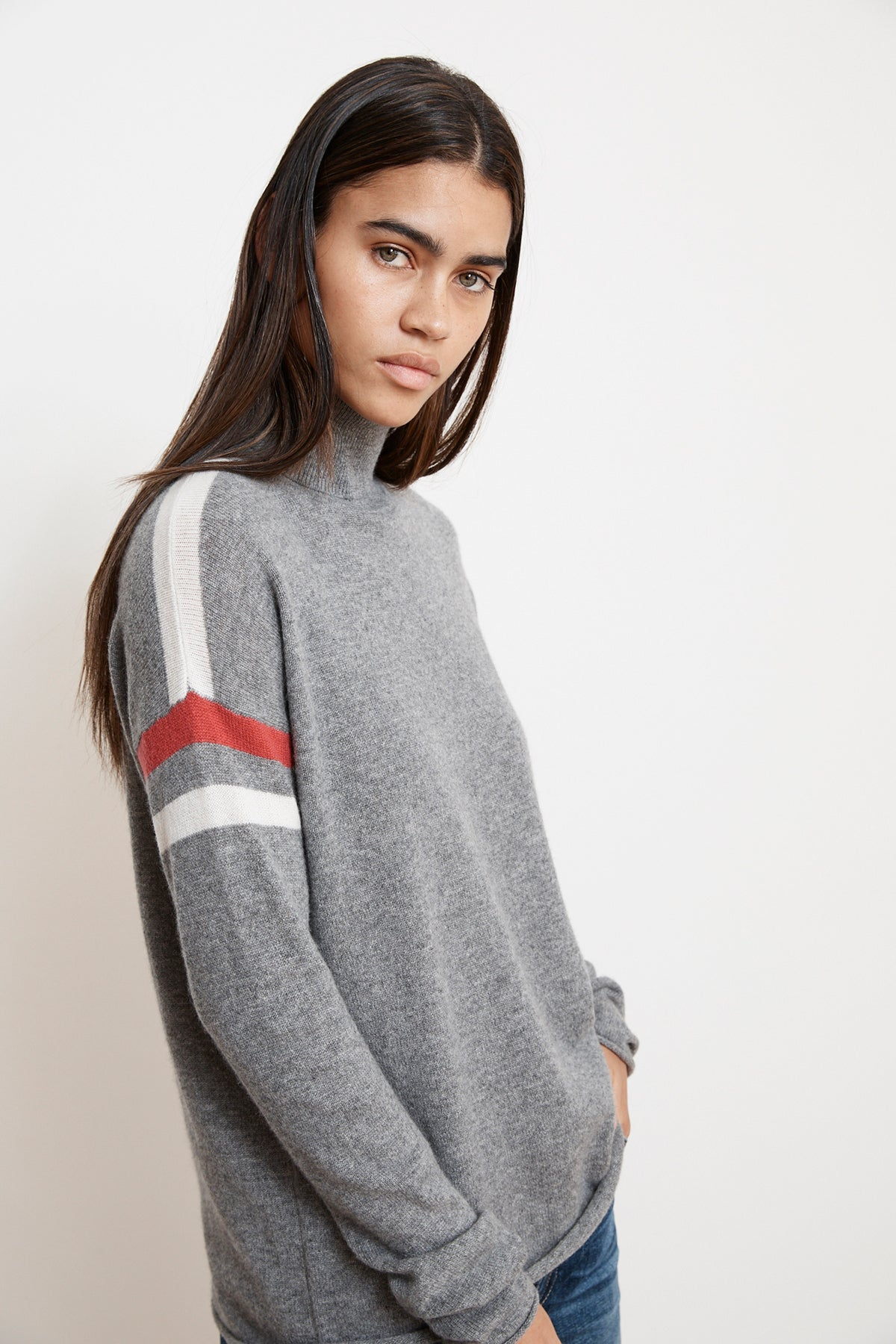 BONNIE STRIPE CASHMERE TURTLENECK SWEATER