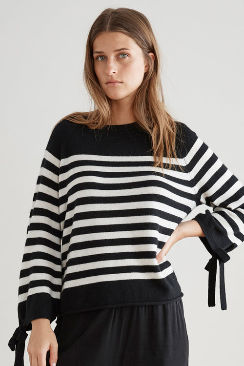 CACEY STRIPE CASHMERE TIE SLEEVE SWEATER