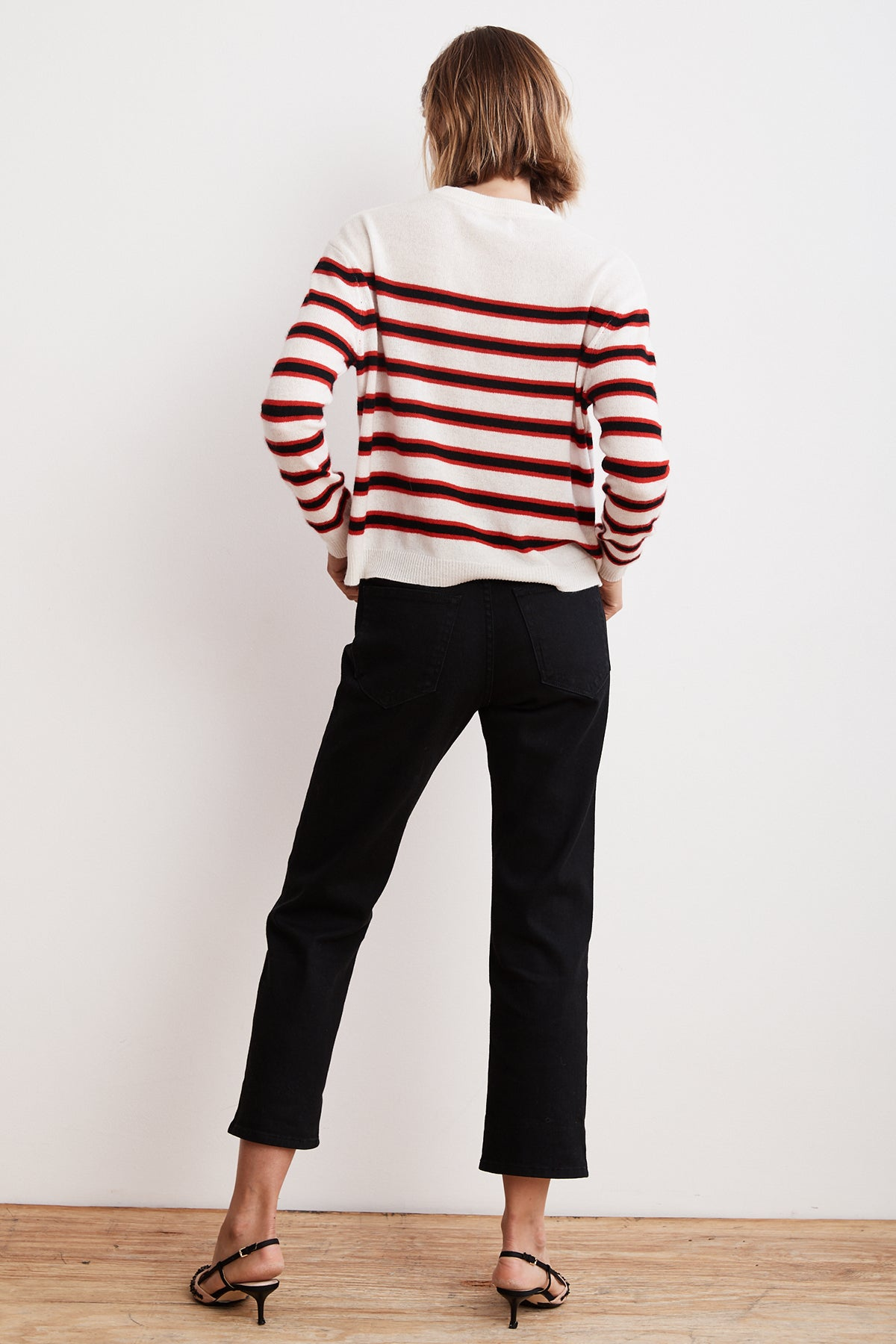 CARMEL MULTI STRIPE CREW NECK CASHMERE SWEATER