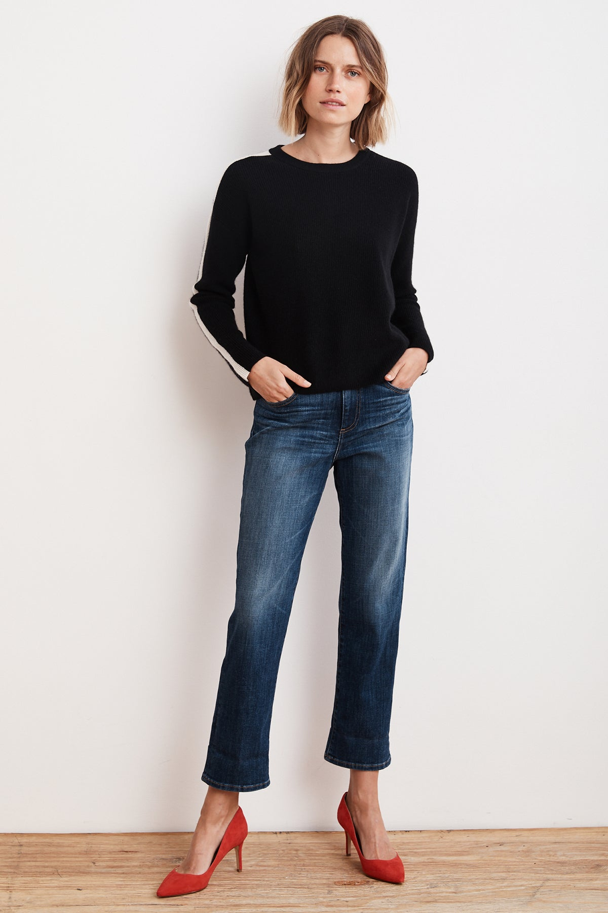 CHYNNA STRIPE CASHMERE CROPPED SWEATER