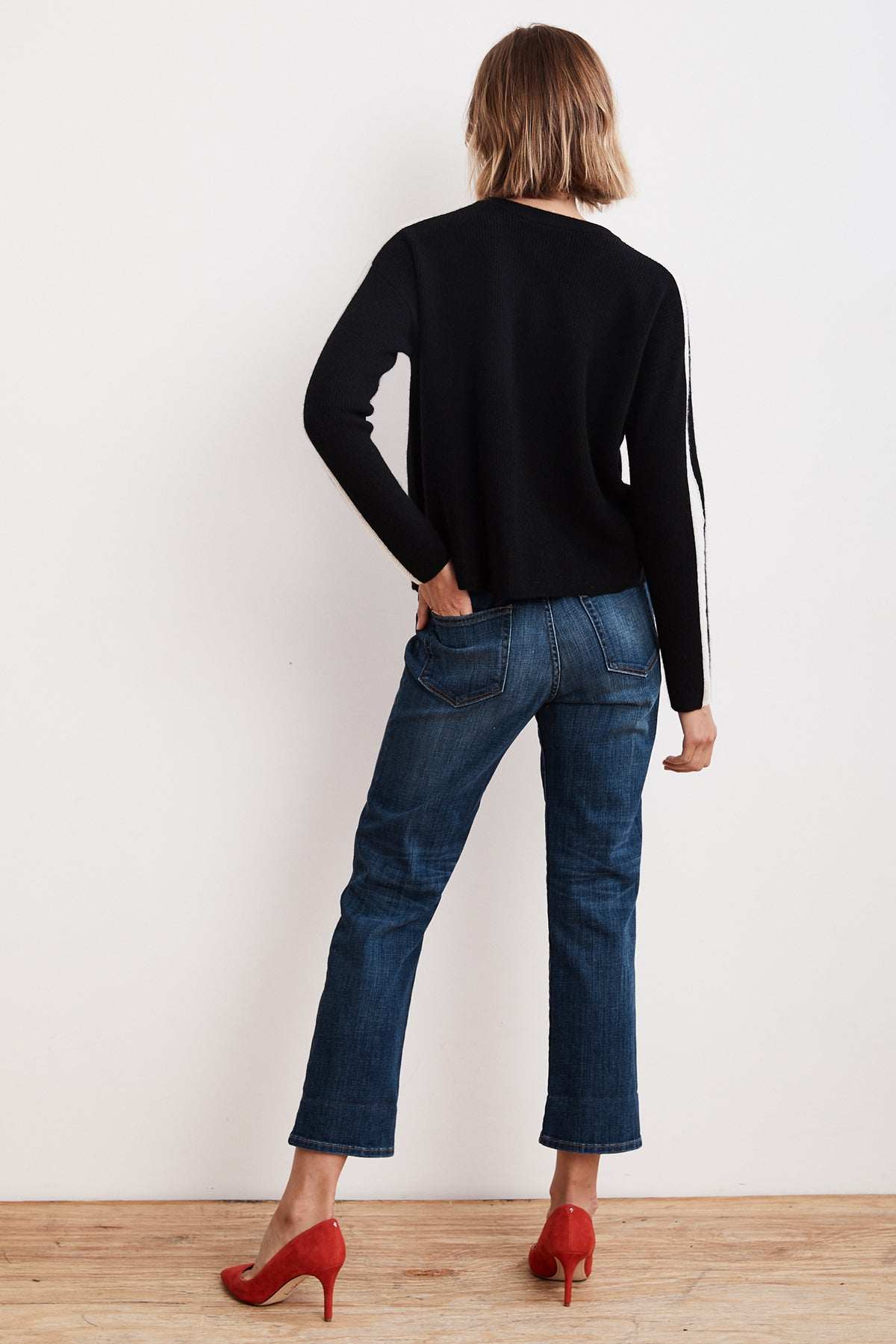 0fad1ee5d0 CHYNNA STRIPE CASHMERE CROPPED SWEATER – Velvet by Graham   Spencer