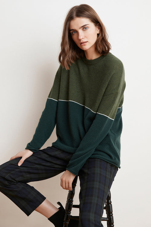 RAVEN COLOR BLOCKED CASHMERE SWEATER