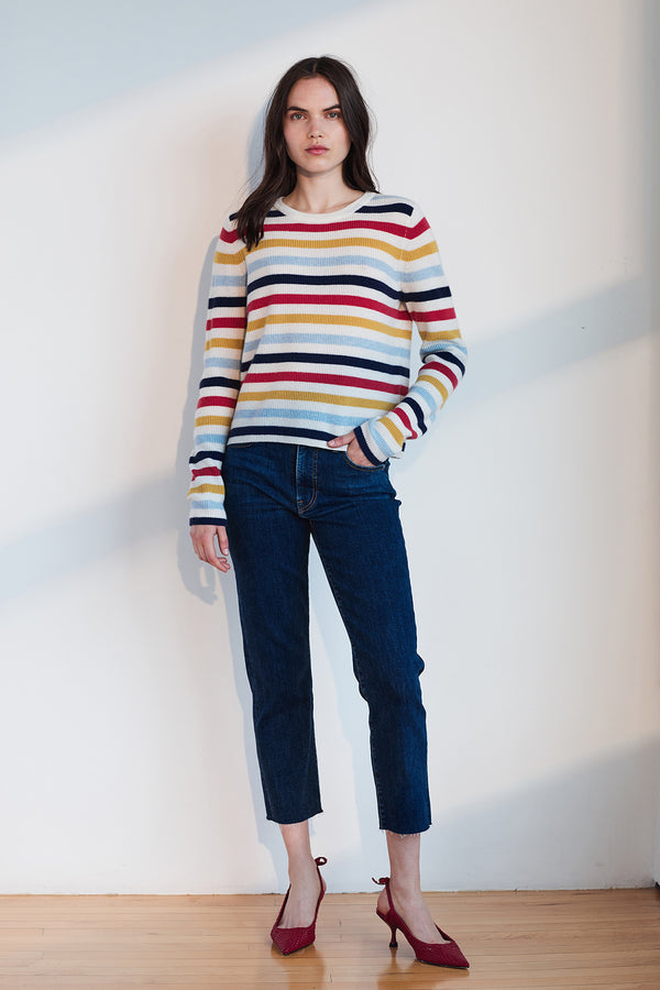 ALYSSA STRIPED CASHMERE SWEATER