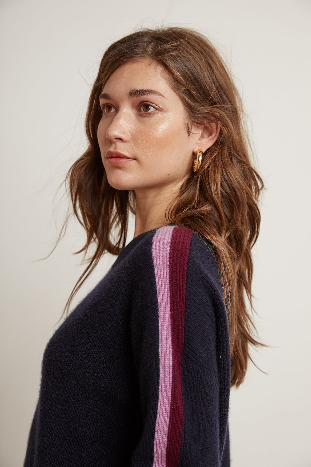 ELIANA STRIPE CASHMERE CREW NECK SWEATER