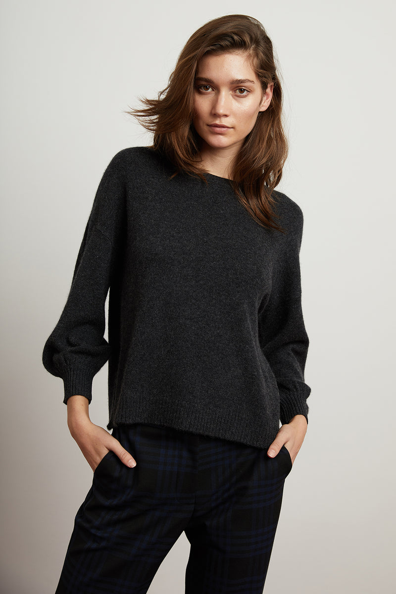 GABRIELLE CASHMERE PUFF SLEEVE SWEATER