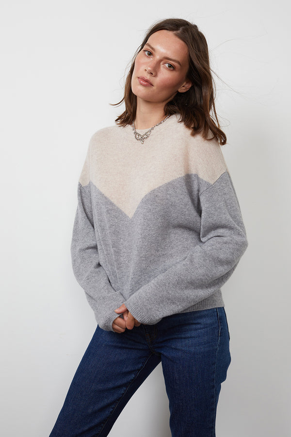 MIKA CASHMERE COLORBLOCK SWEATER
