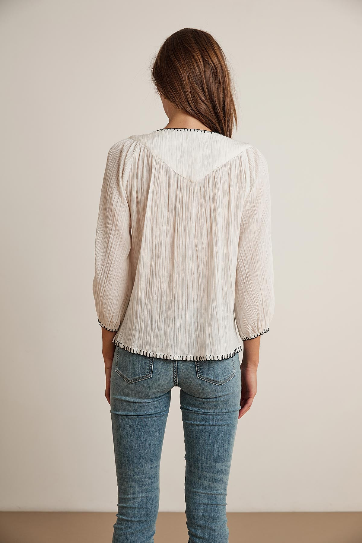 CASSIE BLANKET STITCH PEASANT TOP