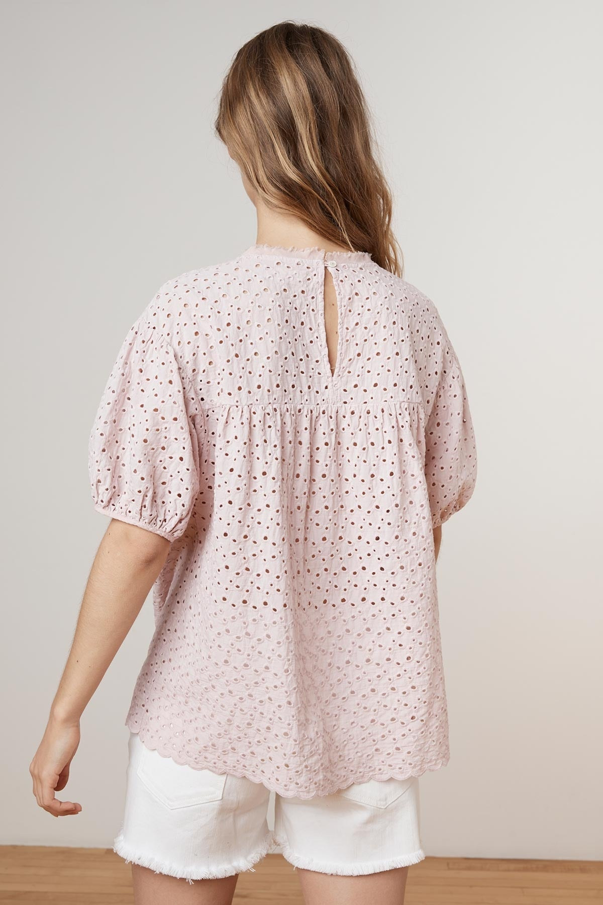 MAYLIN COTTON EYELET PUFF SLEEVE BLOUSE