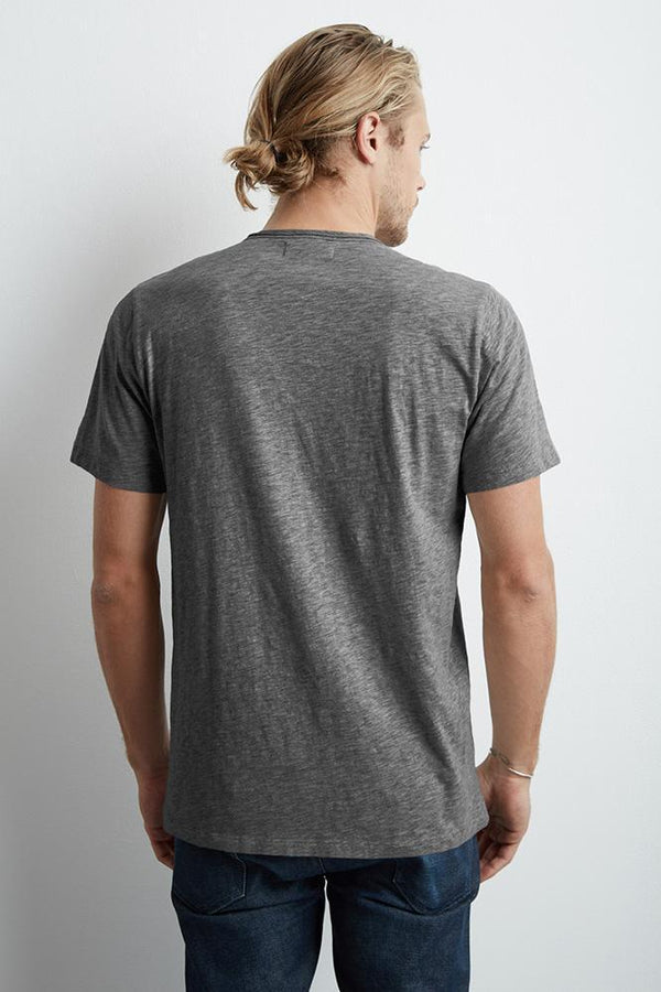 CHAD CHARCOAL RAW EDGE COTTON SLUB POCKET TEE