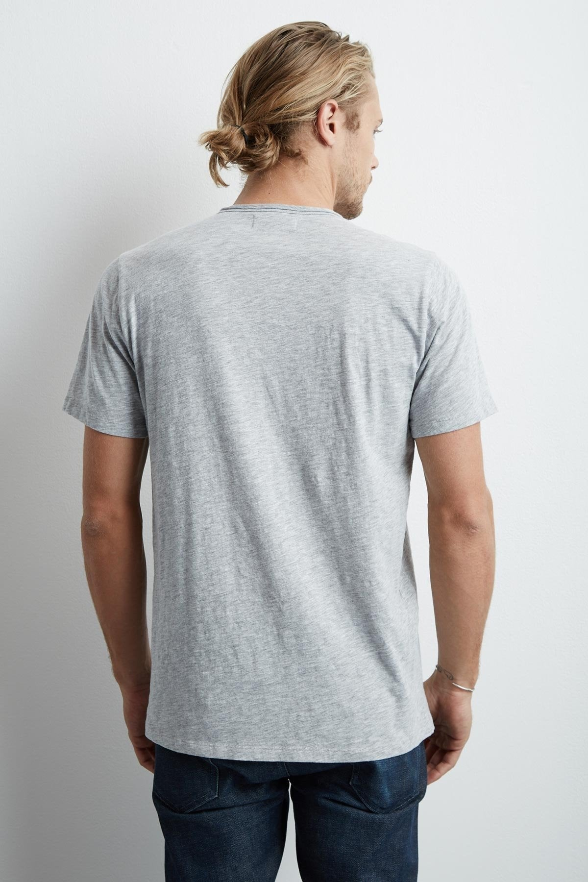 CHAD HEATHER GREY RAW EDGE COTTON SLUB POCKET TEE