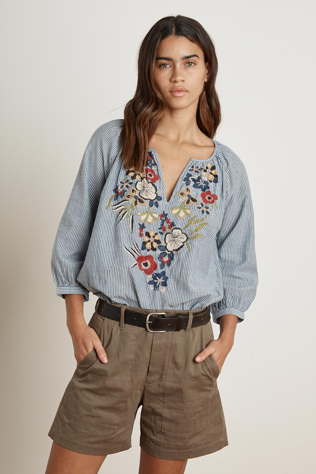 MELIA EMBROIDERED CHAMBRAY STRIPED TOP