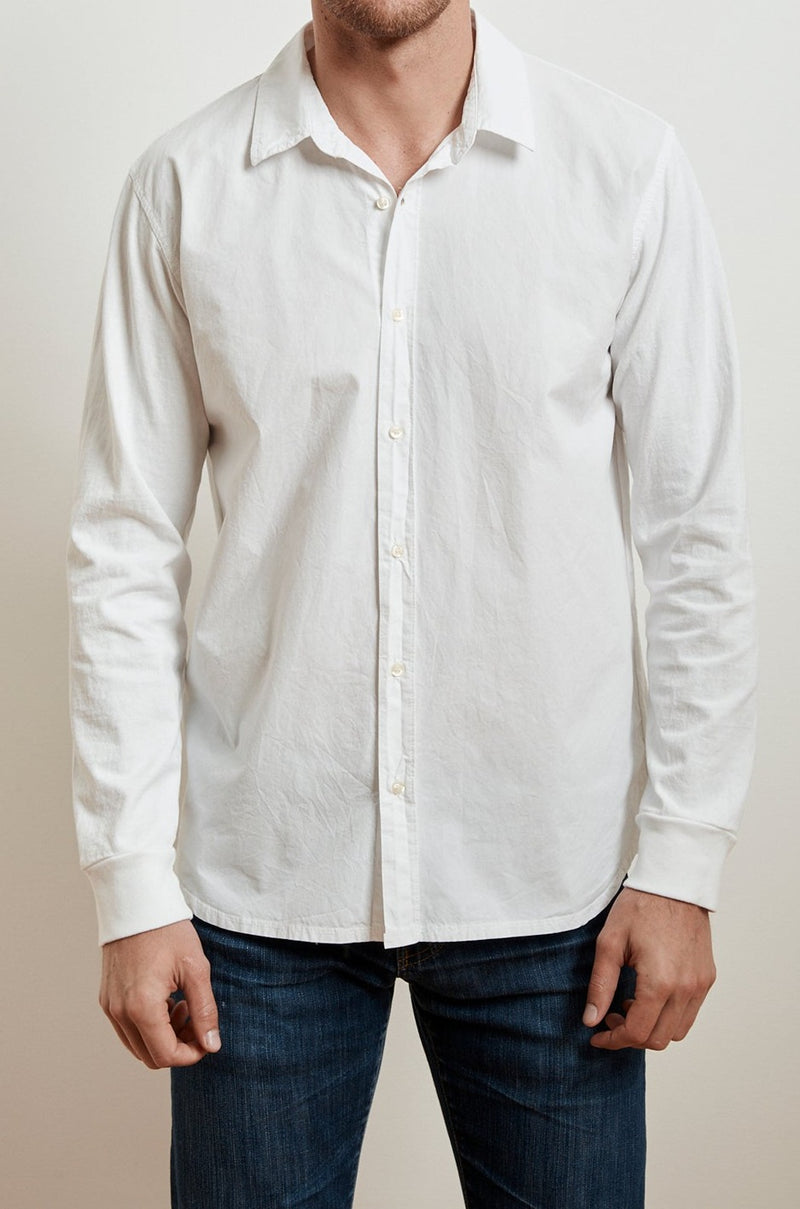 ARLIE CONTRAST COTTON JERSEY BUTTON-UP SHIRT