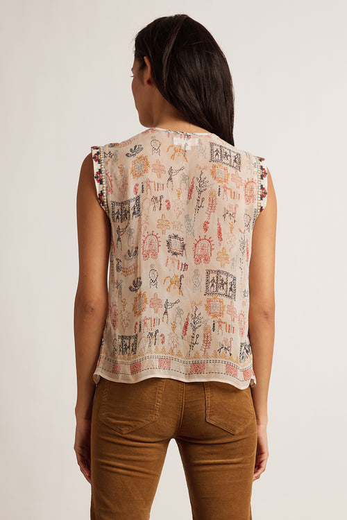 ALURRA CLEO PRINT BEADED SLEEVELESS TOP