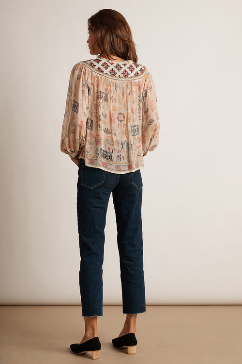 JANAE CLEO PRINT BEADED BUTTON UP TOP