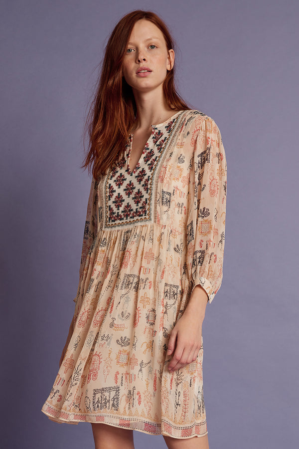 TAWNI CLEO PRINT BEADED PEASANT DRESS