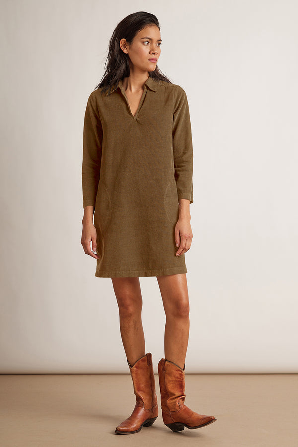 LANA CORDUROY SHIRT DRESS