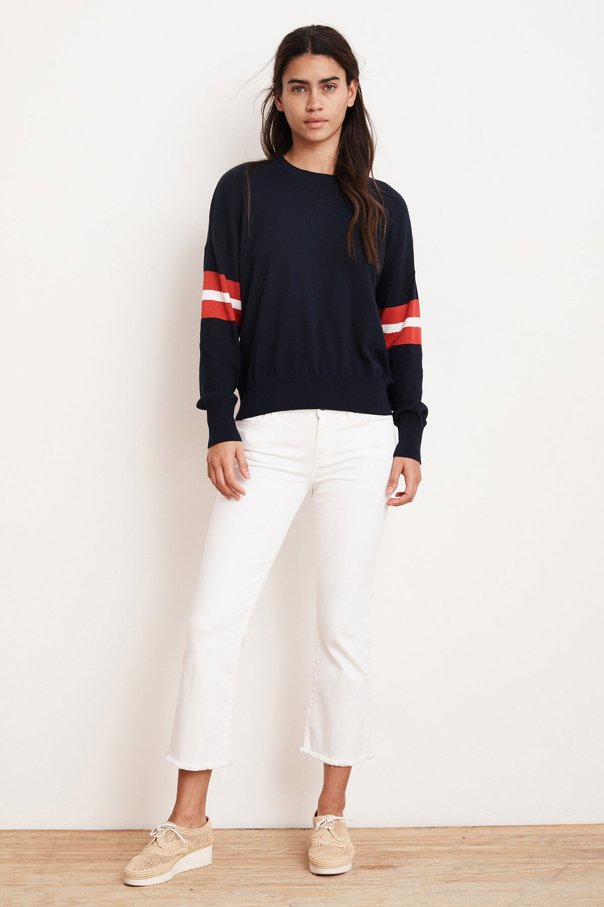 BRENA LIGHTWEIGHT COTTON CASHMERE VARSITY SWEATER