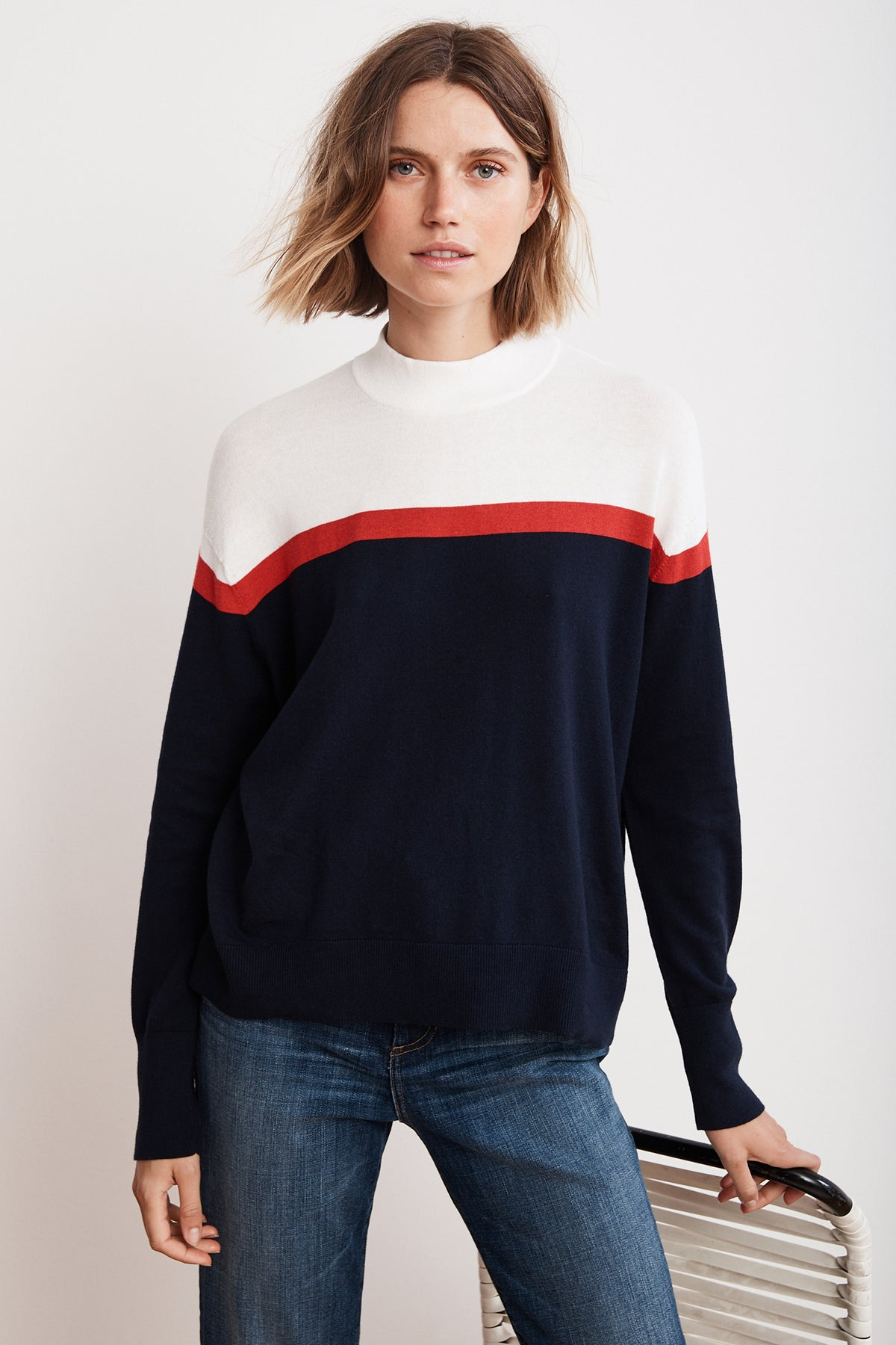 CORETTA LIGHTWEIGHT COTTON CASHMERE MOCK SWEATER