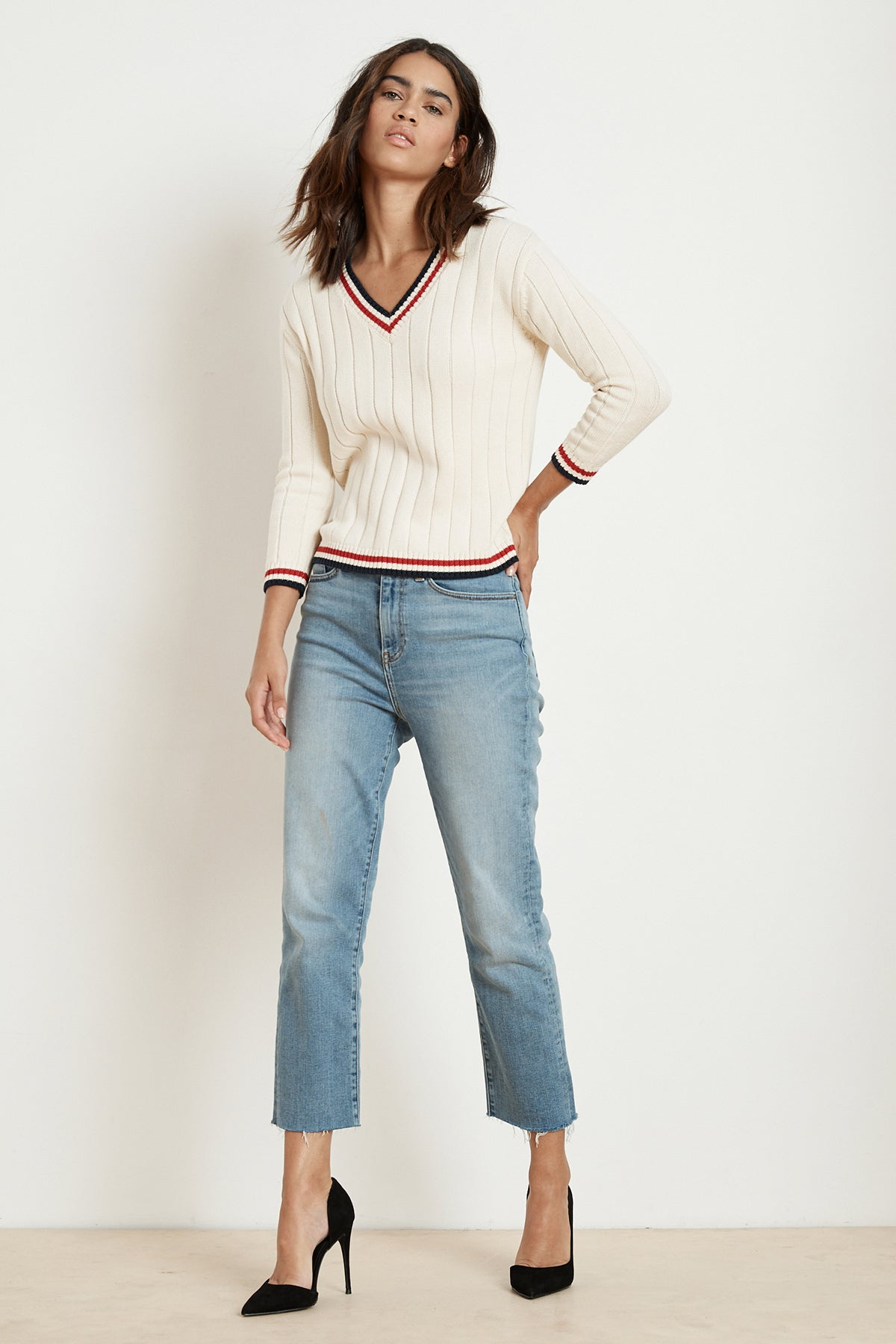 DAVINA COTTON CASHMERE STRIPE TRIM SWEATER