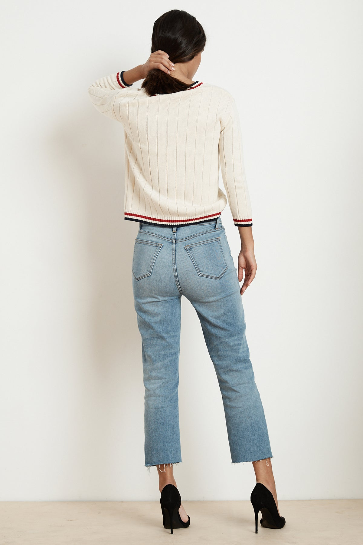 DAVINA COTTON CASHMERE STRIPE TRIM SWEATER BACK
