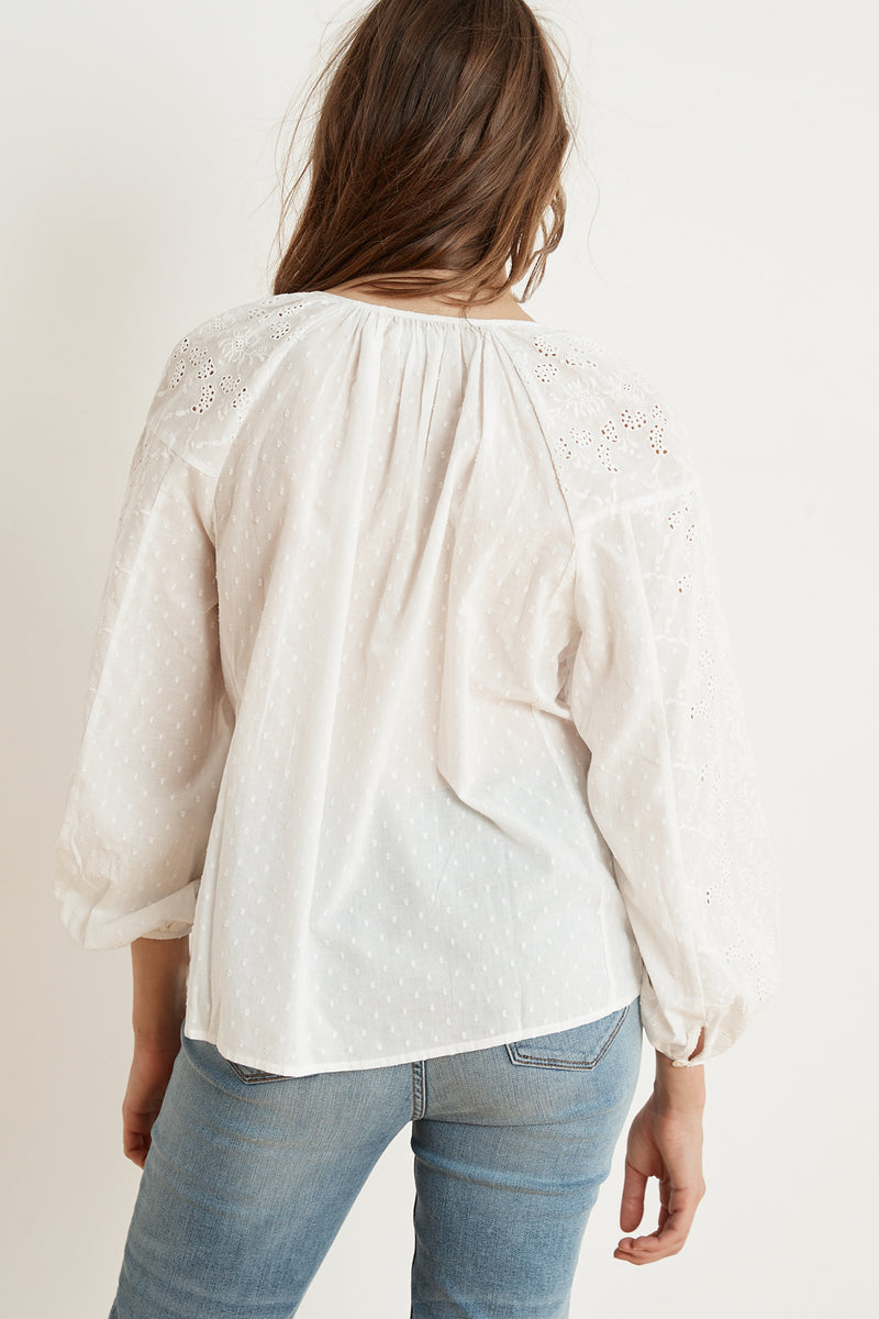 VICTORIA COTTON DOBBY EYELET PEASANT BLOUSE