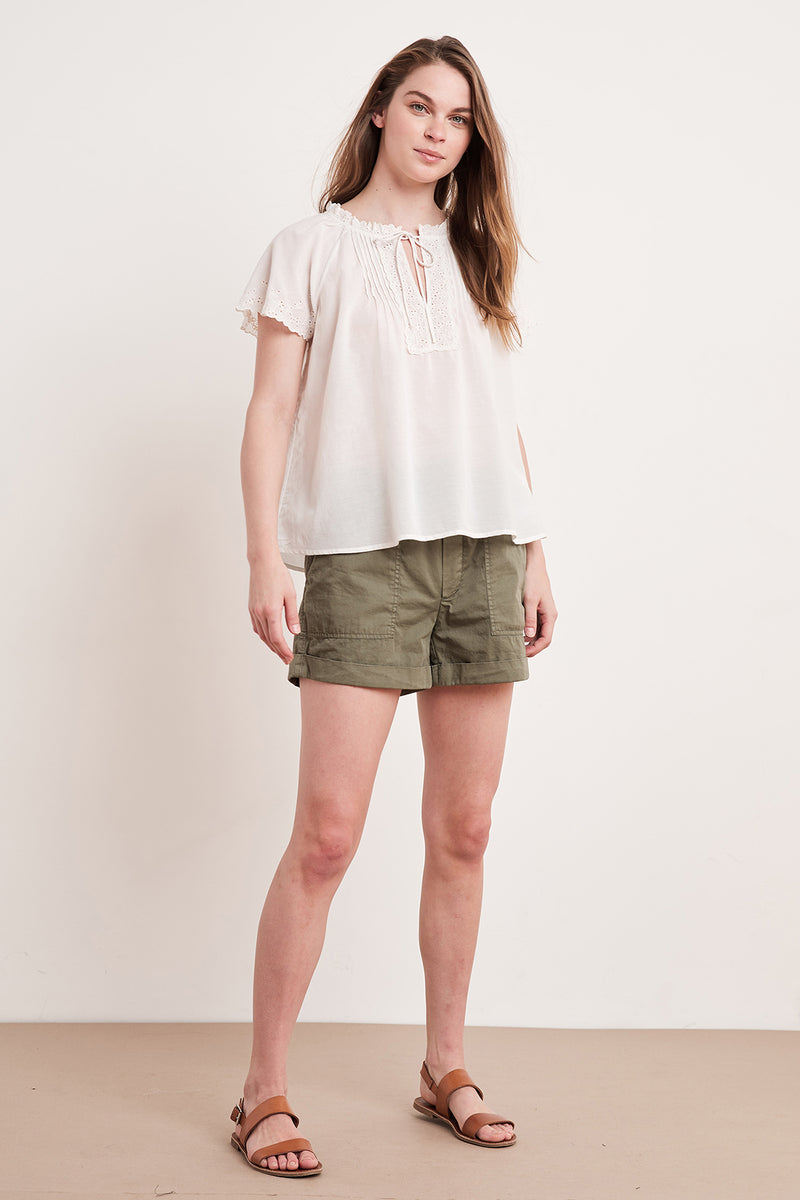 NOELY EYELET EMBROIDERED BLOUSE