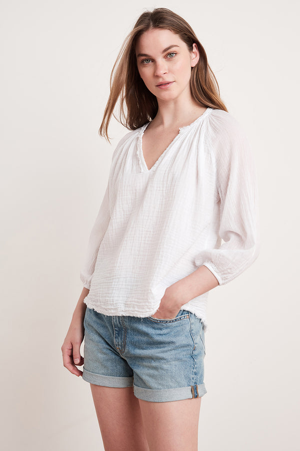 CATHY COTTON GAUZE PEASANT BLOUSE