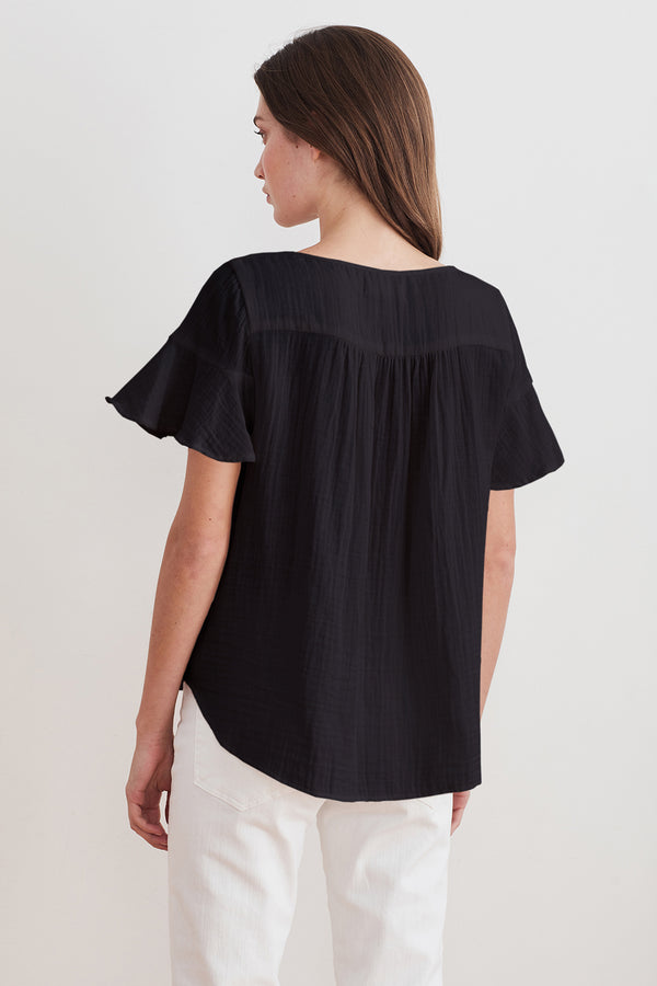 JULIA RUFFLE SLEEVE COTTON GAUZE BLOUSE