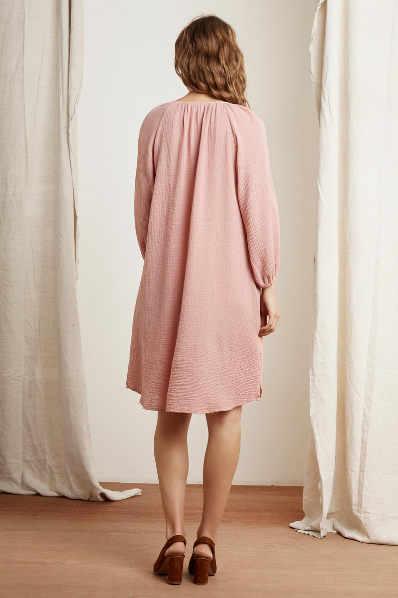 KANDRA COTTON GAUZE PEASANT DRESS