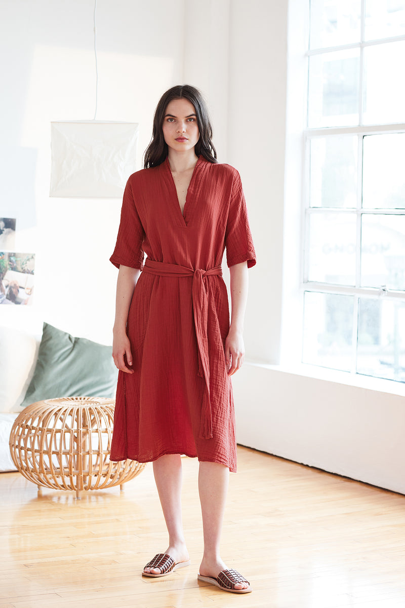 KERRY COTTON GAUZE V-NECK DRESS