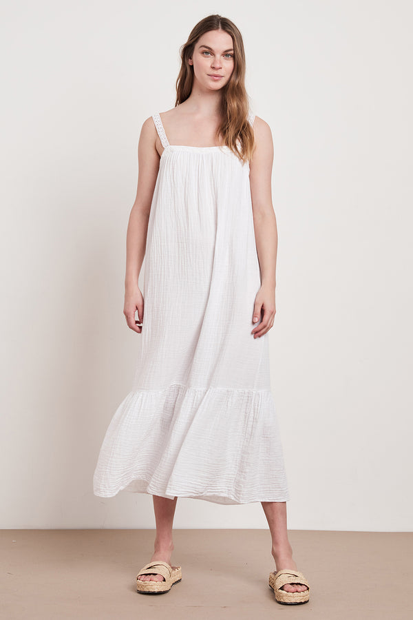 LILA COTTON GAUZE MIDI DRESS