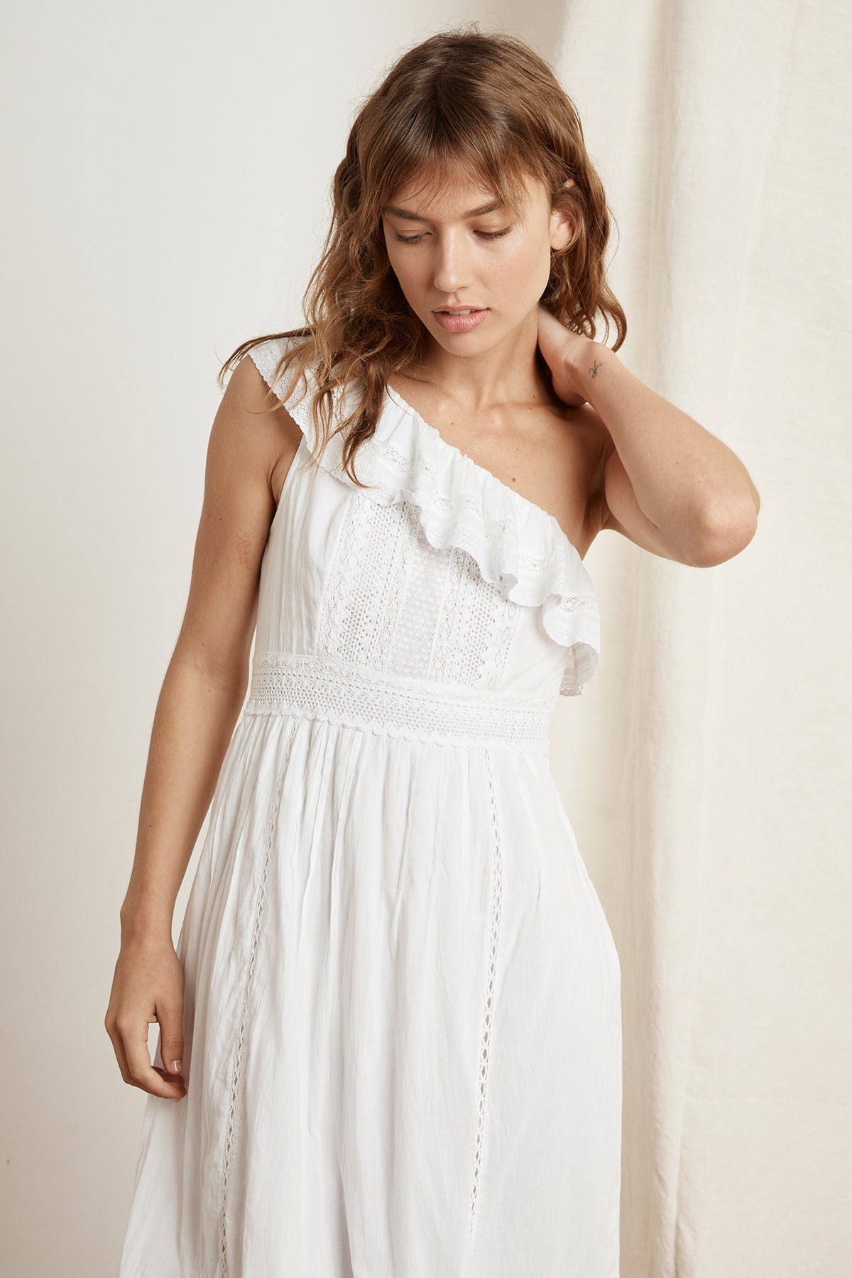 COCO COTTON LACE ONE SHOULDER DRESS