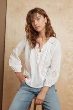 HOPE EMBROIDERED COTTON LACE BLOUSE