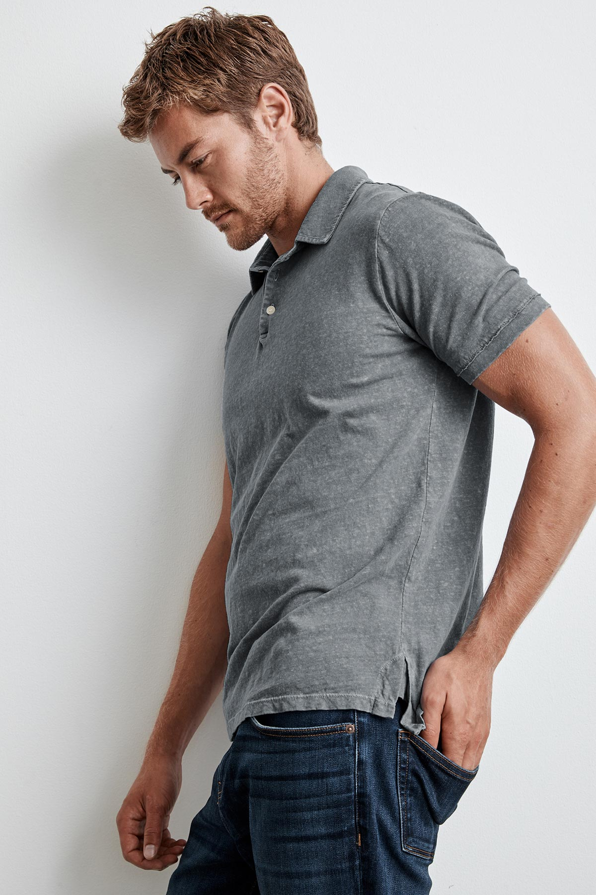 GREG COTTON LINEN POLO