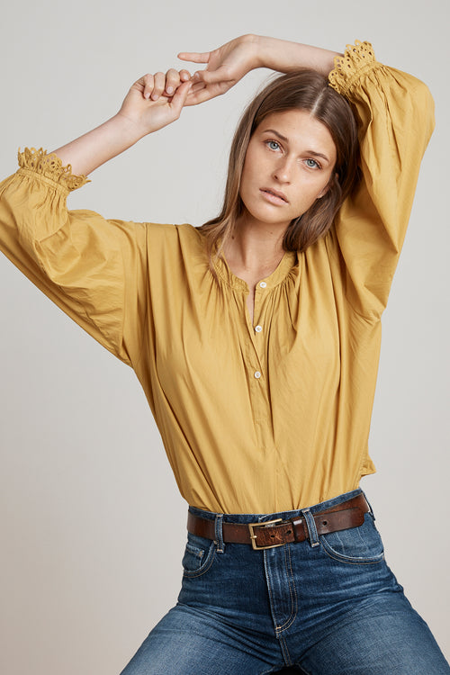 JACOBA COTTON POPLIN OVERSIZED PEASANT BLOUSE