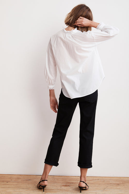 MYRELLA COTTON POPLIN BUTTON UP BLOUSE