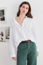 RAMONA COTTON POPLIN BUTTON UP SHIRT