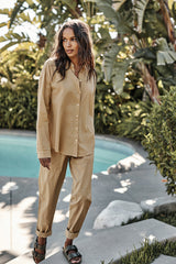 Misty Pant Sage Devyn Shirt Thicket Front 2