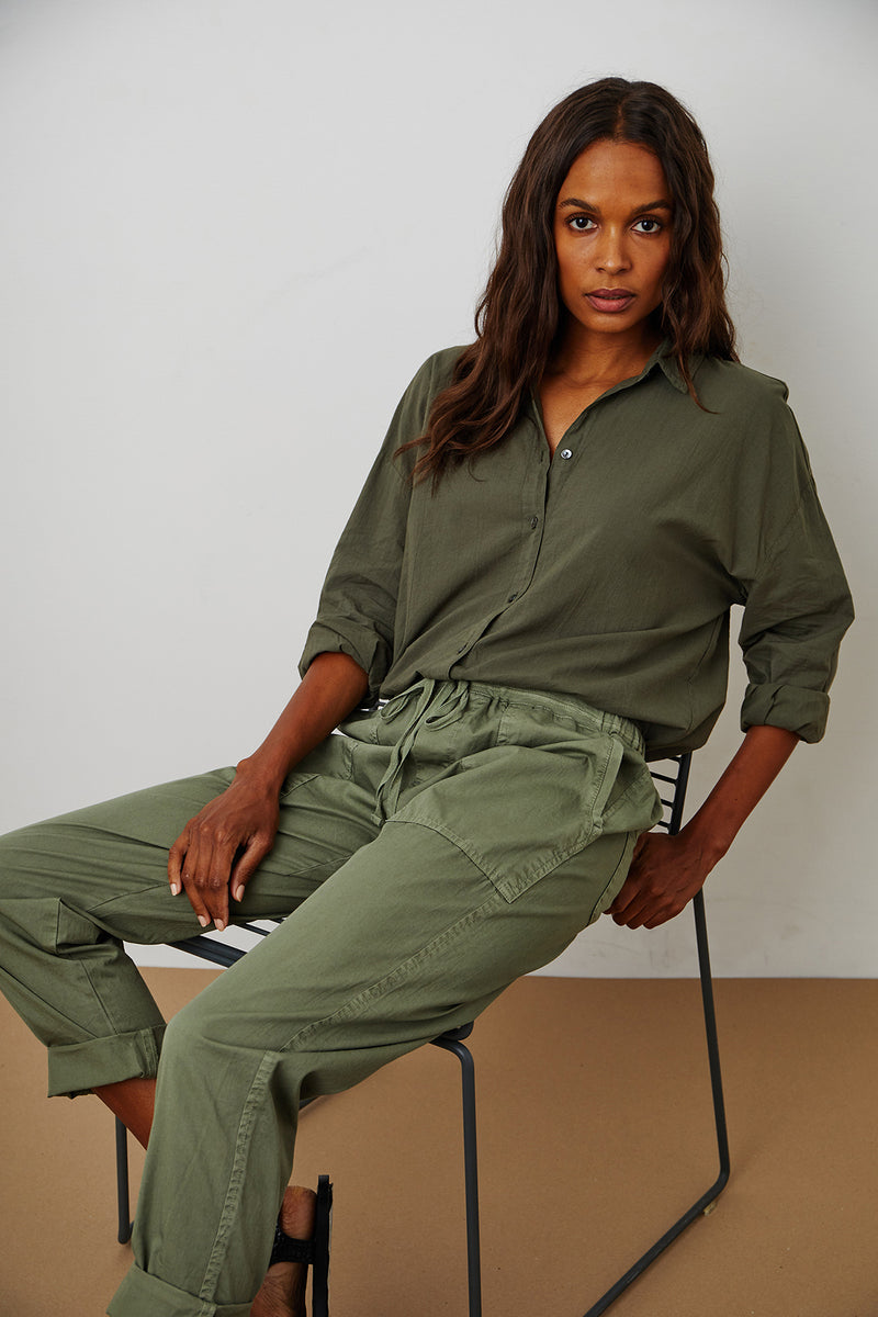 Misty Pant Sage Devyn Shirt Thicket Front