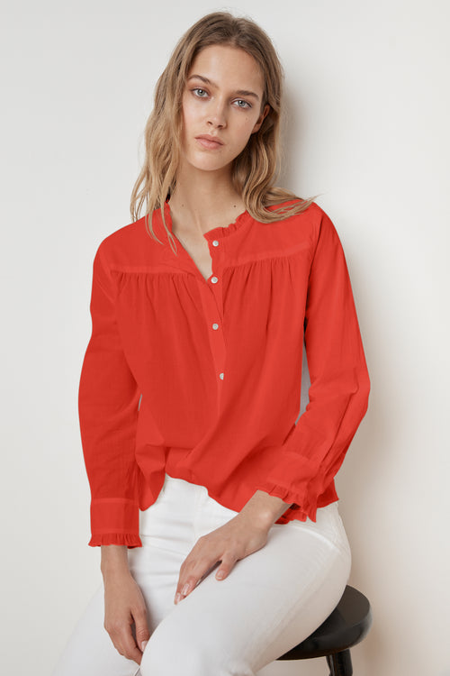 NILDA RUFFLE COTTON BUTTON UP SHIRT