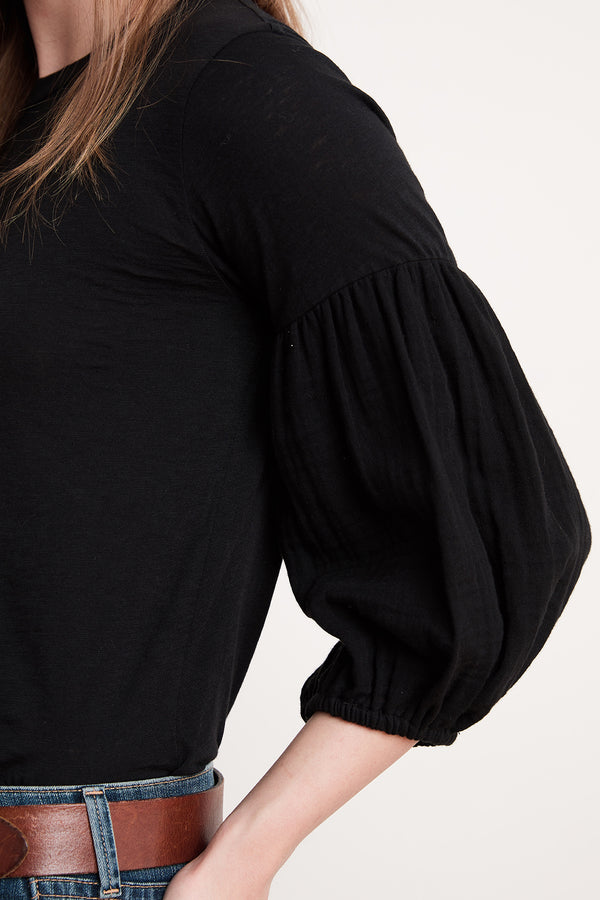 ALEXIA COTTON CONTRAST PUFF SLEEVE TEE