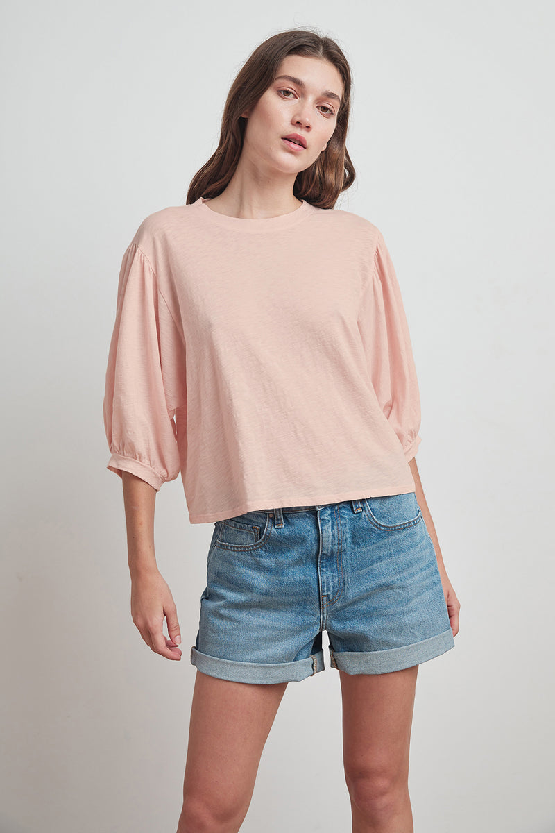 AMARA COTTON SLUB 3/4 SLEEVE TEE