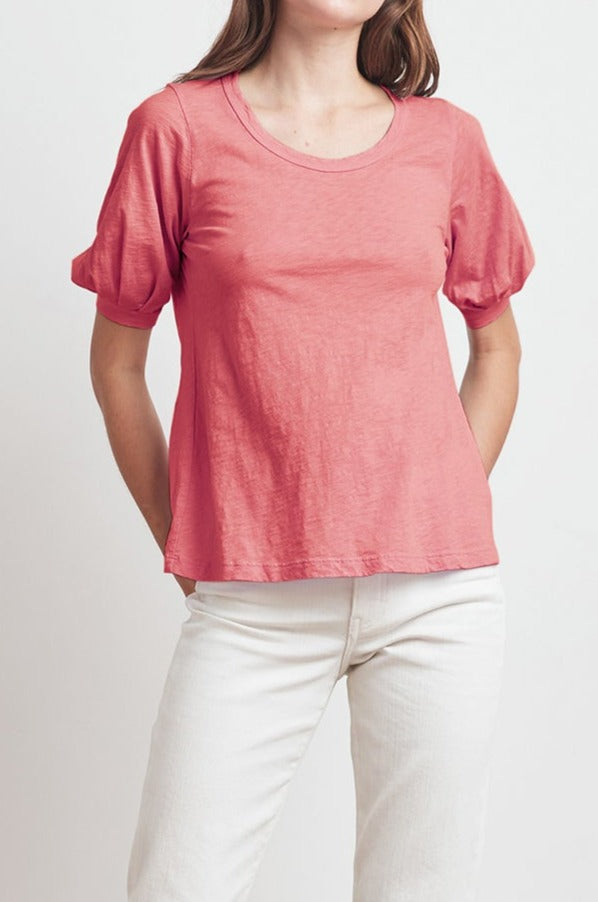 ANABELLE COTTON SLUB PUFF SLEEVE TEE