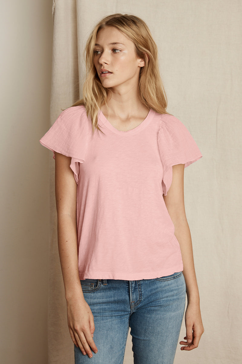 BETHA COTTON SLUB MIX RUFFLE SLEEVE TEE
