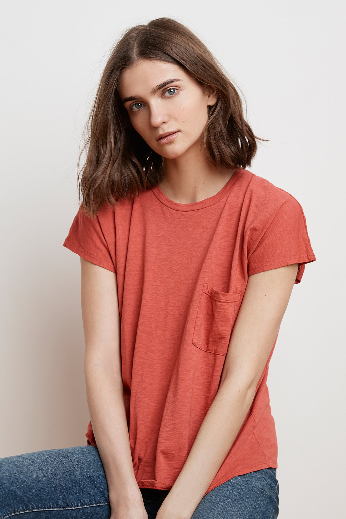 CARINE COTTON SLUB POCKET TEE