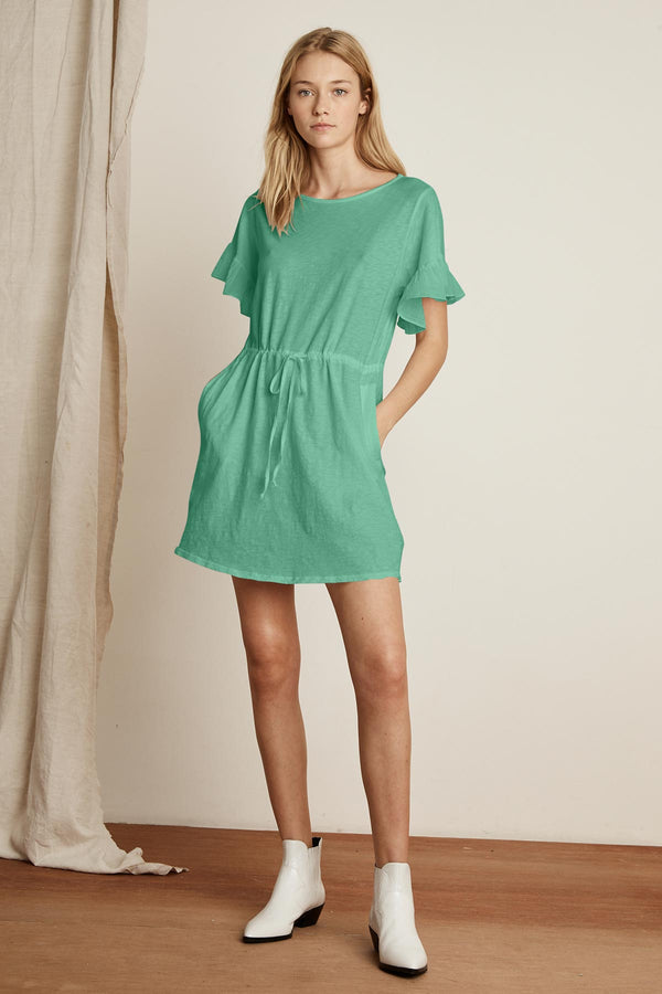 DAISEE COTTON SLUB MIX DRAWSTRING RUFFLE DRESS