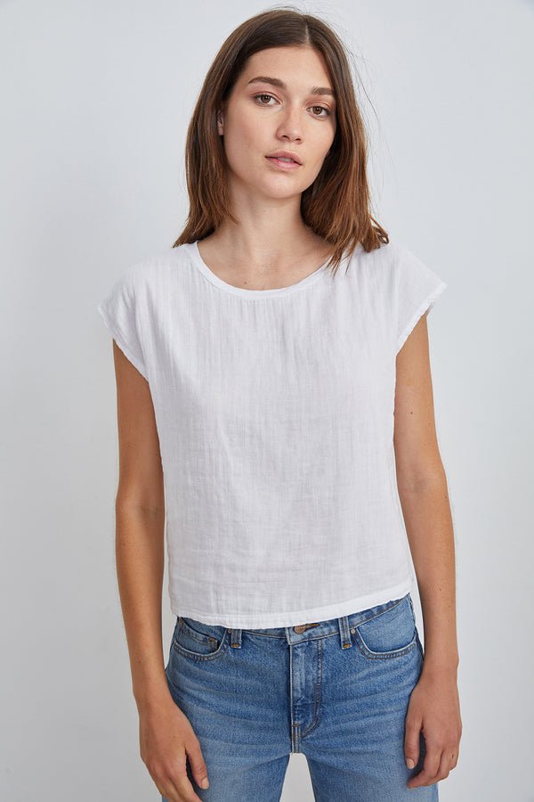 DANIELLA COTTON SLUB MIX CAP SLEEVE TEE